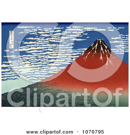 Royalty Free Historical Illustration of Mount Fuji in Clear Weather, Red Fuji, by Katsushika Hokusai by JVPD