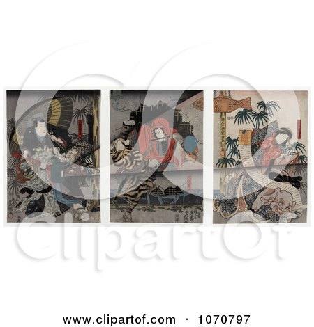 Royalty Free Historical Illustration of Japanese Actors and Actresses As Lions, Tigers and Elephants by JVPD