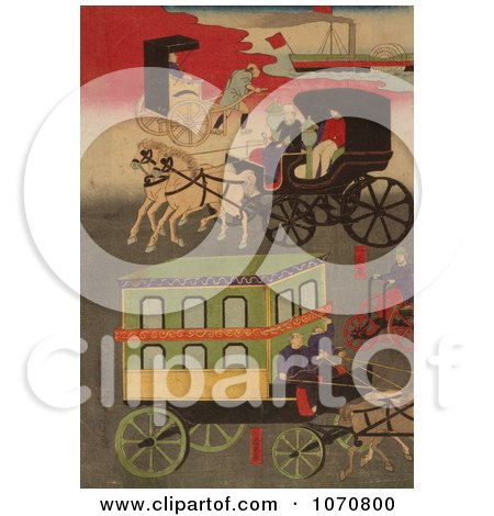 Royalty Free Historical Illustration of Forms of Transportation by JVPD
