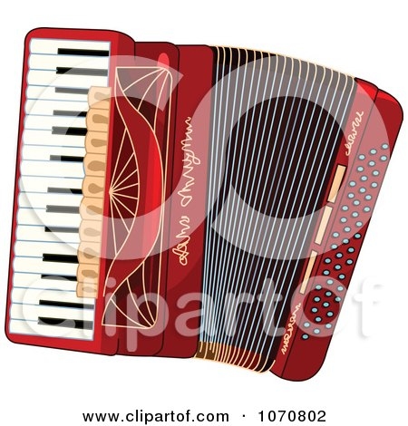 Clipart Red Accordion - Royalty Free Vector Illustration by Pushkin