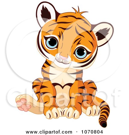 Clipart Cute Sitting Baby Tiger - Royalty Free Vector Illustration by Pushkin