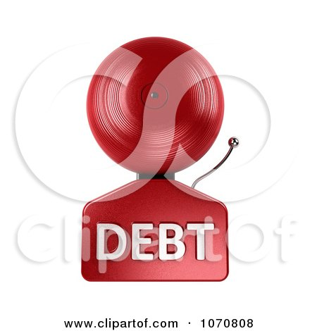 Clipart 3d Fire Alarm Bell With DEBT Text - Royalty Free CGI Illustration by stockillustrations