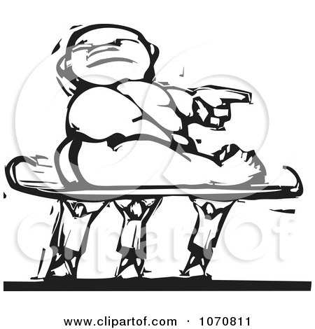 Clipart Woodcut Baby Being Carried On A Sled - Royalty Free Vector Illustration by xunantunich