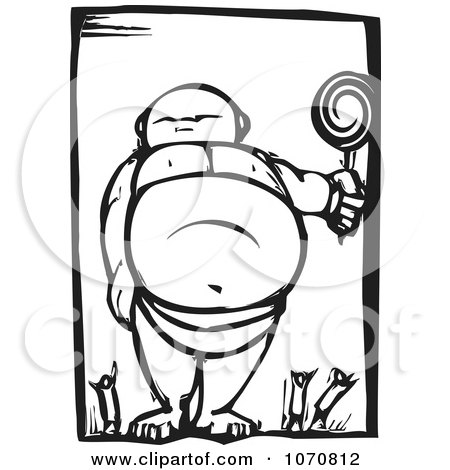 Clipart Woodcut Giant Baby Standing Over People - Royalty Free Vector Illustration by xunantunich