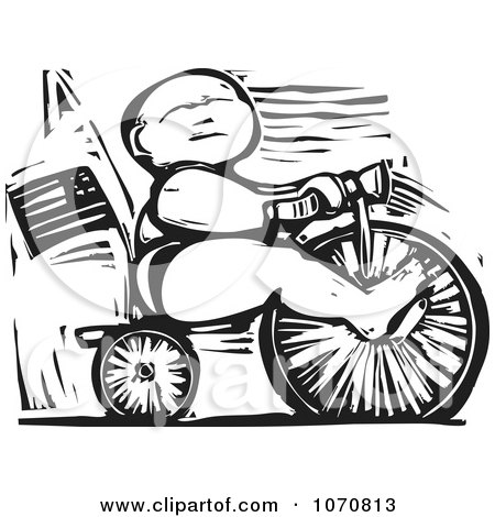 Clipart Woodcut Baby Riding A Trike - Royalty Free Vector Illustration by xunantunich