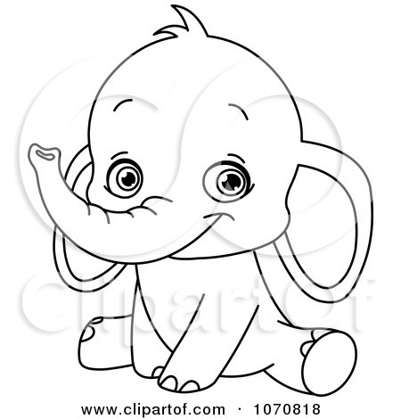 Clipart Happy Outlined Cute Baby Elephant Royalty Free