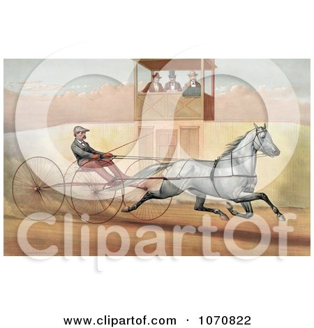 Illustration of a Panel Of Three Judges In A Tower, Watching A Man Racing A Horse - Royalty Free Historical Clip Art by JVPD