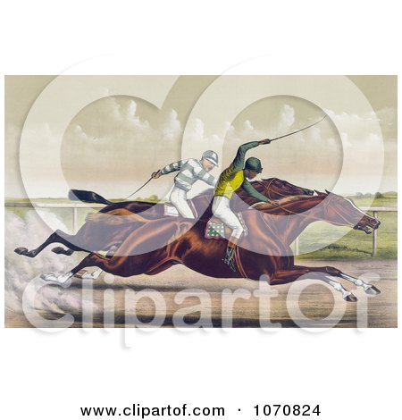 Illustration of a Horse Race Between Salvator And Tenny At Sheepshead Bay, New York, June 25th 1890 - Royalty Free Historical Clip Art by JVPD