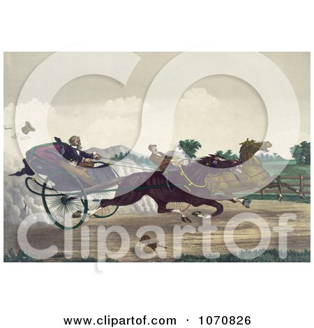 Illustration of Two Competitive Men Racing Their Horses Down A Street With A Dog Running Along The Side - Royalty Free Historical Clip Art by JVPD