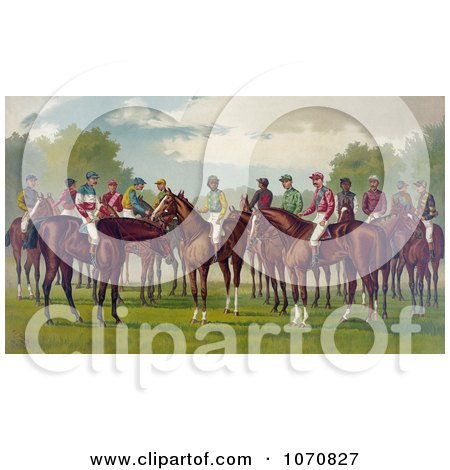 Illustration of a Group Of Jockeys On Their Horses - Royalty Free Historical Clip Art by JVPD