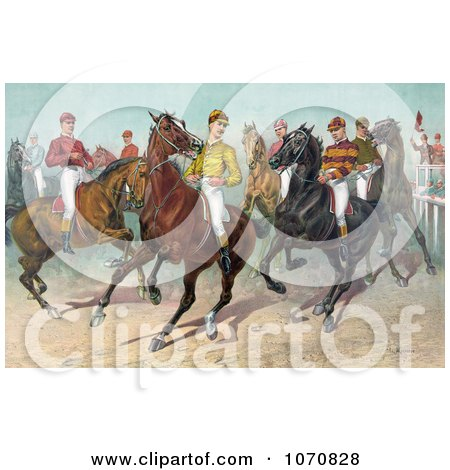 Illustration of a Group Of Seven Jockeys On Horseback, Ready For A Race - Royalty Free Historical Clip Art by JVPD