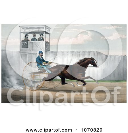 Illustration of Dan Mace Racing And Driving Trotting Horse Judge Fullerton - Royalty Free Historical Clip Art by JVPD