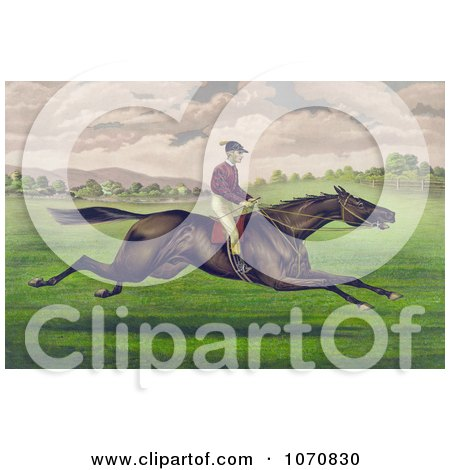 Illustration of a Jockey Riding On The Back Of A Brown Gelding, Leaping Across A Grassy Field - Royalty Free Historical Clip Art by JVPD