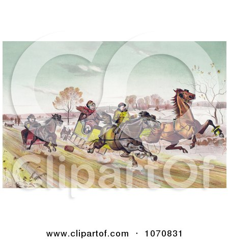 Illustration of a Man, Woman And Senior Man Racing Horses Down A Street In Winter - Royalty Free Historical Clip Art by JVPD
