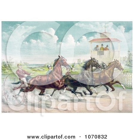 Illustration of Judges In A Tower Watching A Close Race Between Four Horse Harness Racing Jockeys - Royalty Free Historical Clip Art by JVPD