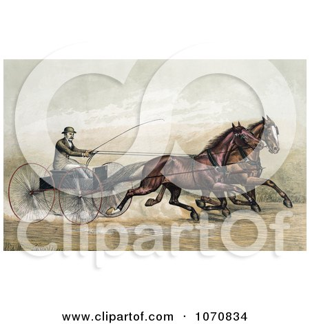 Illustration of a Man, John Murphy, Holding A Whip While Driving Two Trotting Horses At The Gentlemen's Driving Park In Morissania, New York On July 13th 1882 - Royalty Free Historical Clip Art by JVPD
