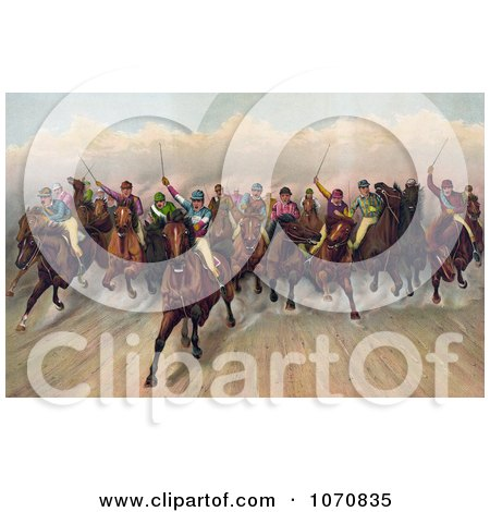 Illustration of a Large Group Of 19 Competitive Jockeys Racing Forward - Royalty Free Historical Clip Art by JVPD