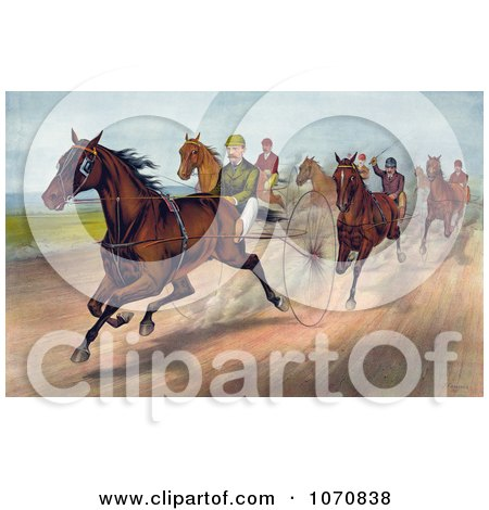 Illustration of a Group Of Men Racing Horses With Dust Rising On The Track - Royalty Free Historical Clip Art by JVPD