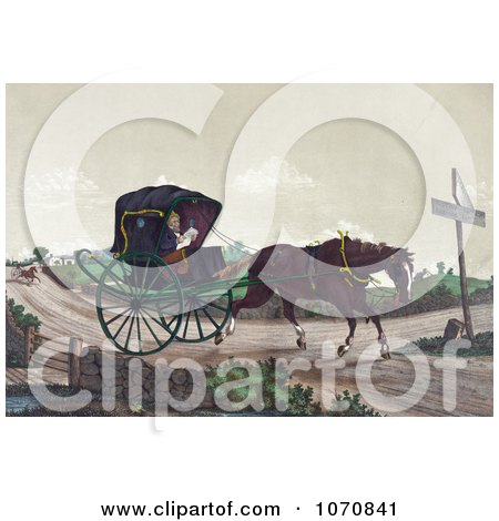 Illustration of An Exhausted Horse Pulling Deacon Jones In A Carriage, While A Man In A Horsedrawn Sulky Quickly Gains On Them In The Background - Royalty Free Historical Clip Art by JVPD