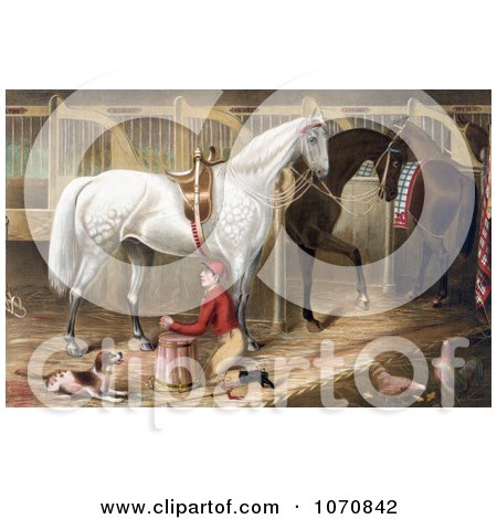 Illustration of a Dog Watching A Jockey Kneeling And Praying For A Successful Race In A Horse Stable - Royalty Free Historical Clip Art by JVPD