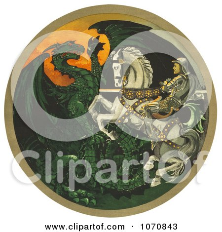 Illustration Of A Knight On A White Horse, Battling A Green Dragon - Royalty Free Historical Clip Art by JVPD