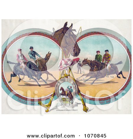 Illustration of Four Racing Jockeys On Horseback, In Three Different Scenes - Royalty Free Historical Clip Art by JVPD