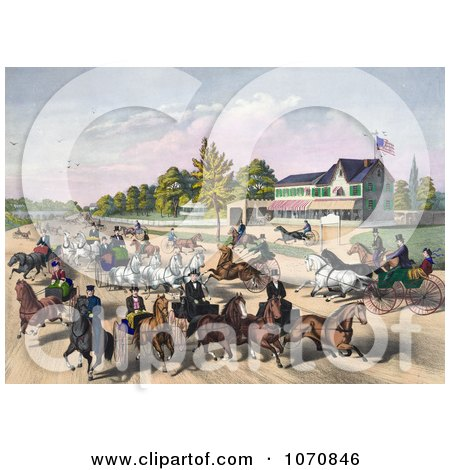 Illustration of a Busy Street Scene Of Horses And Carriages On A Road Near A Building - Royalty Free Historical Clip Art by JVPD
