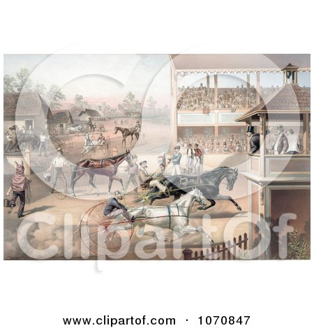 Illustration of an Audience And Judges Watching A Horse Race - Royalty Free Historical Clip Art by JVPD