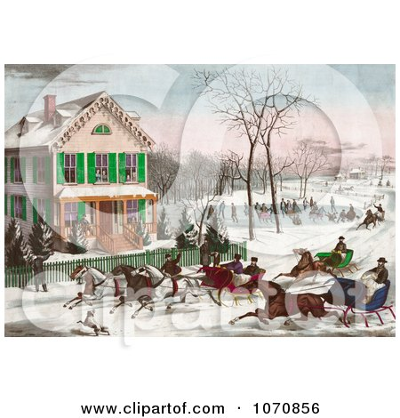 Illustration of Four Horse Drawn Sleighs Racing Down A Street In Front Of A Home While People Watch Or Ice Skate In The Background - Royalty Free Historical Clip Art by JVPD