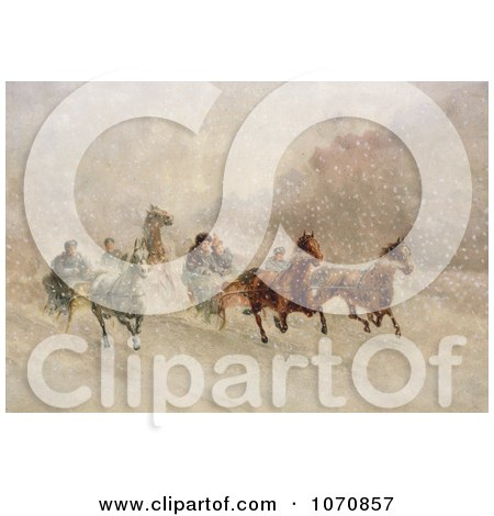 Illustration of People Racing On Horse Drawn Sleighs On A Snowing Winter Day - Royalty Free Historical Clip Art by JVPD