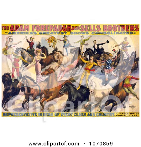Illustration of the Adam Forepaugh and Sells Brothers Performers Doing Stunts on Horses - Royalty Free Historical Clip Art by JVPD