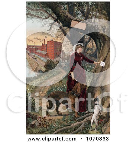 Illustration of a Woman in Horseback Riding Clothes, Putting a Note in a Tree, Her Dogs Beside Her and Horse and Mill in the Background - Royalty Free Historical Clip Art by JVPD
