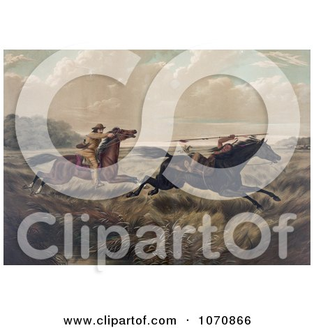 Illustration of a White Man Chasing a Native American Indian, Both on Horseback - Royalty Free Historical Clip Art by JVPD