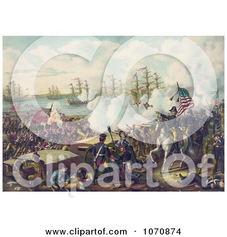 Historical Illustration: the Battle of New Orleans - Royalty Free Historical Clip Art by JVPD