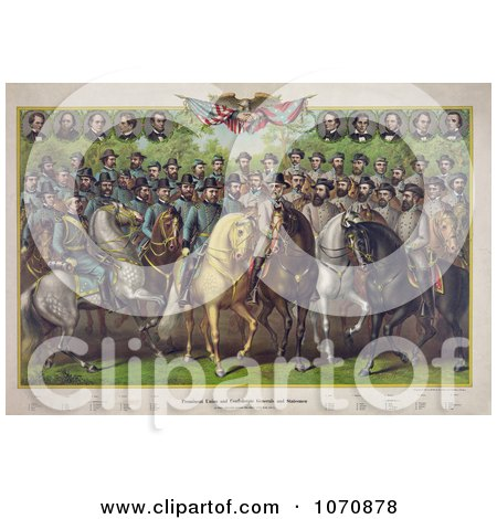 Illustration: Prominent Union and Confederate Generals and Statesmen on Horses - Royalty Free Historical Clip Art by JVPD