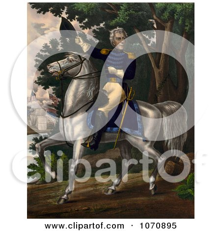 Illustration Of Andrew Jackson With the Tennessee Forces on the Hickory Grounds - Royalty Free Historical Clip Art by JVPD