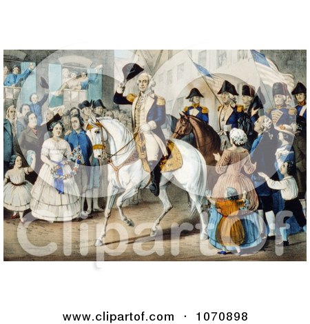Illustration Of George Washington's Entry Into New York On A White Horse 1783 - Royalty Free Historical Clip Art by JVPD