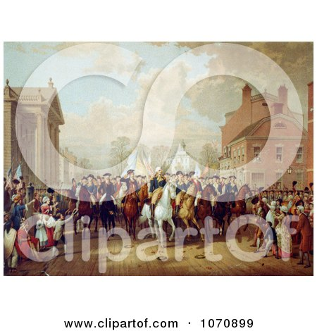Illustration Of Evacuation Day During George Washington's Triumphal Entry Into New York City 1783 - Royalty Free Historical Clip Art by JVPD