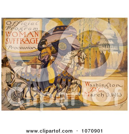 Illustration Of Official Program - Woman Suffrage Procession, Washington, D.C. March 3, 1913 - Royalty Free Historical Clip Art by JVPD