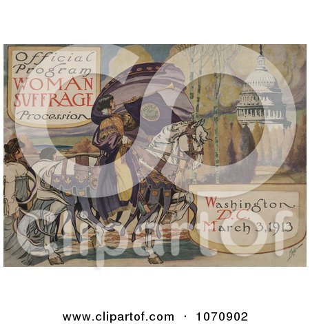 Illustration Of Woman Suffrage Procession, Washington, D.C. March 3, 1913 - Royalty Free Historical Clip Art by JVPD