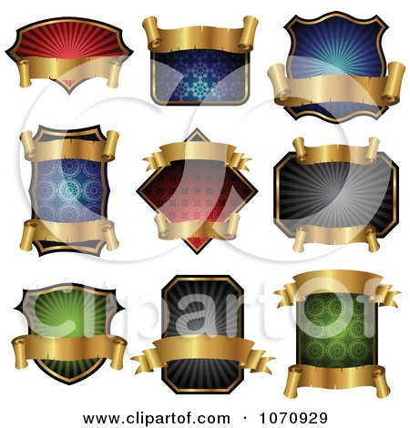 Clipart Gold Banner And Shield Logos - Royalty Free Vector Illustration by cidepix