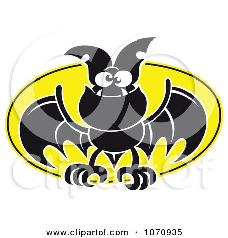 Clipart Flying Vampire Bat Against A Full Moon - Royalty Free Vector Illustration by Zooco