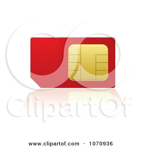 Clipart 3d Red And Gold Cell Phone SIM Card With A Reflection - Royalty Free Vector Illustration by michaeltravers