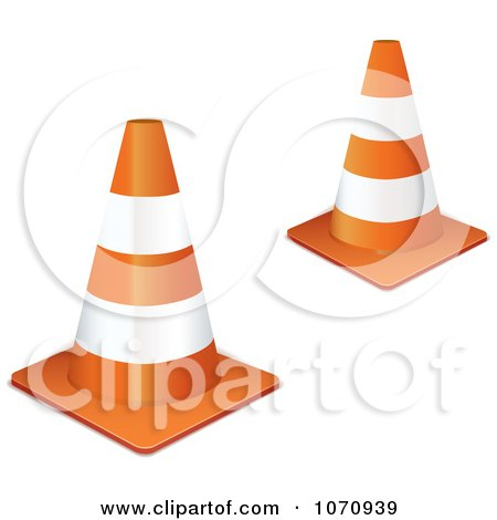 Clipart 3d Orange Road Construction Cones - Royalty Free Vector Illustration by michaeltravers
