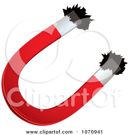 Clipart 3d Horseshoe Magnet Attracting Iron Filings - Royalty Free Vector Illustration by michaeltravers