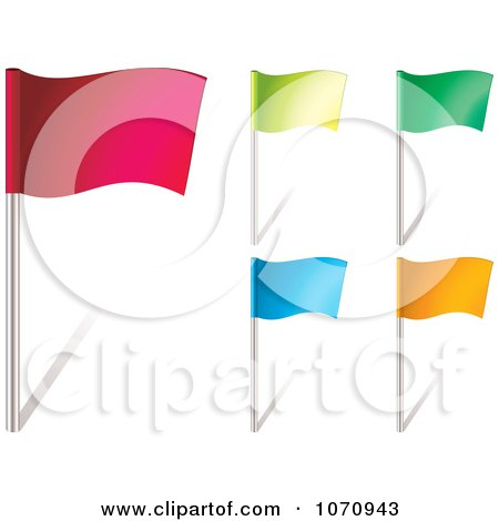 Clipart 3d Colorful Waving Flags - Royalty Free Vector Illustration by michaeltravers