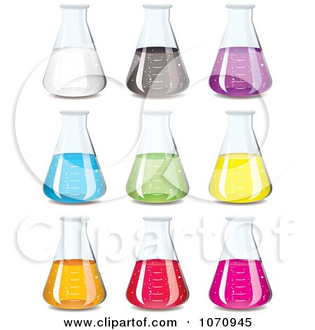 Clipart 3d Chemistry Science Flasks With Colorful Chemicals - Royalty Free Vector Illustration by michaeltravers