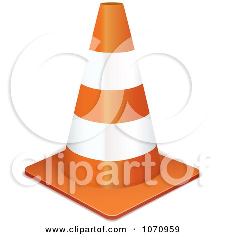 Clipart 3d Traffic Cone - Royalty Free Vector Illustration by michaeltravers