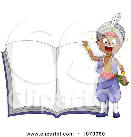 Clipart Genie Boy Over An Open Story Book - Royalty Free Vector Illustration by BNP Design Studio