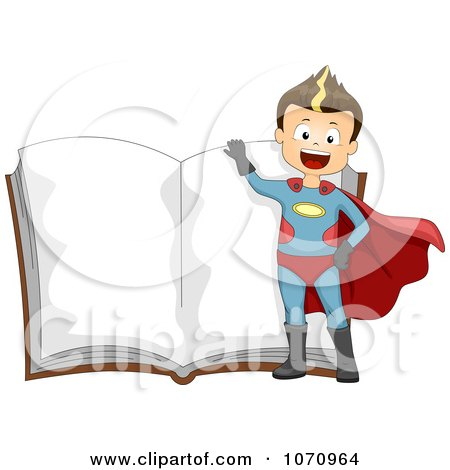 Clipart Super Hero Boy Over An Open Story Book - Royalty Free Vector Illustration by BNP Design Studio
